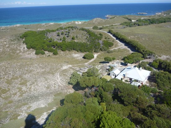 Rottnest Island, Australia: View from the balcony of Wadjemup Lighthouse. The former lighthouse keeper's house is below.