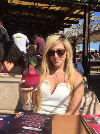 Bloubergstrand, South Africa: enjoying a daiquiri