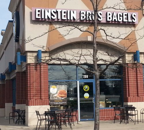 Lake in the Hills, IL: front of, outdoor patio & entrance to Einstein Bros Bagels