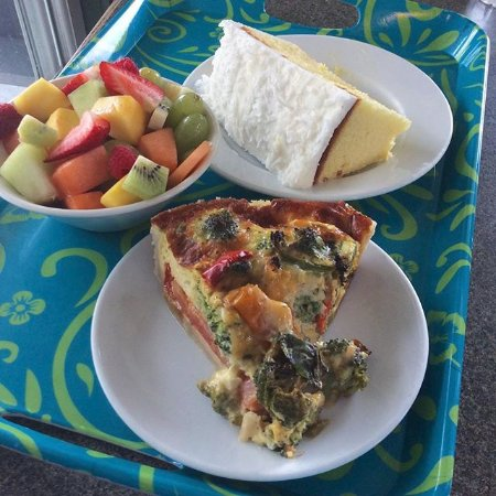 Rockport, ME: lemon coconut cake, mixed fruit bowl, and quiche!