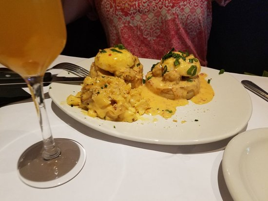 Bonefish Grill: Eggs Benedict with spinach and mushrooms.  Eggs Benedict with Bang Bang Shrimp
