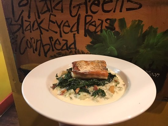 Rome, GA: Amazonian Bass served over Herb Risotto with Lemon Cream Sauce