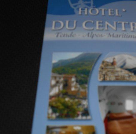 Tende, Frankrig: plaquette de l'hotel (chambre et village)