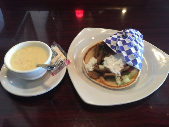 Warner Robins, GA: gyro sandwich and lemon chicken soup (cup was actually full but I had already eaten some of it)
