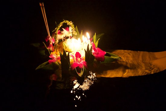 Phuket by, Thailand: Our Kratong lit in the caves at night