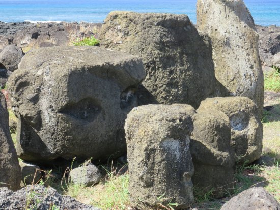 Ahu Tongariki: Circle of other types of heads.