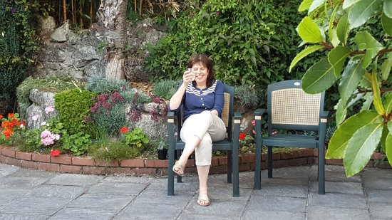 Cooperage: Jacqui in the back garden
