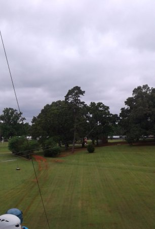 Nacogdoches, TX: Zip line from the 4th platform to the 5th. This one is 400 feet long.