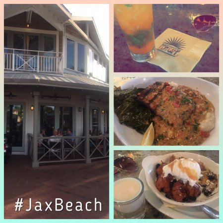 Neptune Beach, FL: Blackened Mahi w/ grits and collard greens, Blueberry bread pudding with shot of Rum Chata