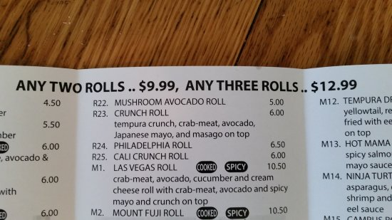 ‪‪Normal‬, إلينوي: Sample sushi menu‬