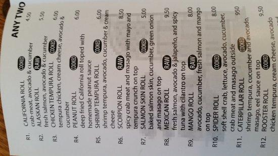 Normal, IL: Sample sushi menu