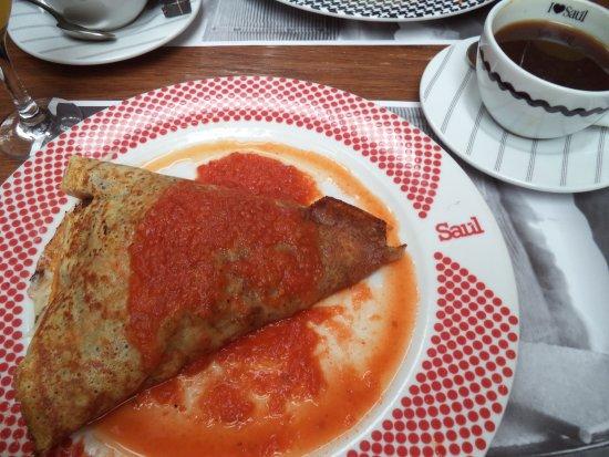 Saul Bistro Guatemala: Deliciosa crepa con chorizo copetin