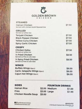 Alhambra, Californië: Menu as of Apr 2017