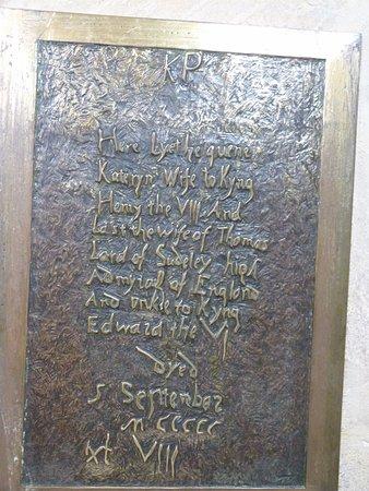 Winchcombe, UK: Katherine Parr's plaque