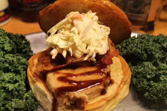 Emmaus, PA: Bacon Wrapped Pork Loin Sandwich with Pineapple Cole Slaw