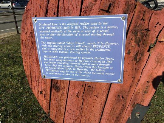 Hyannis Port, MA: Information sign on rudder