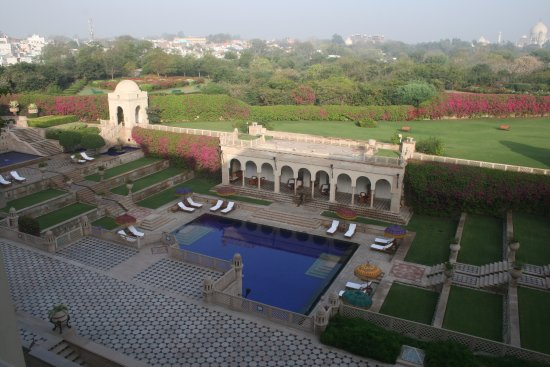 The Oberoi Amarvilas: Hotel pool (with the Taj in the background, far right).