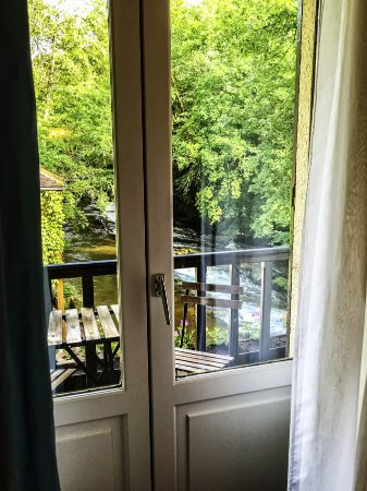 Moulin des Ruats: View of Balcony through the French Doors