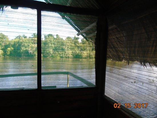 Guayana Region, Venezuela: widok na Orinoko przez wykonane z siatki ściany pokoju