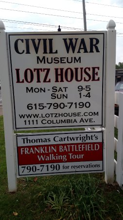‪‪Lotz House Museum‬: Sign on Road‬