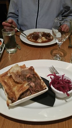 Eccles, UK: Lamb rump and game pie (peeled the pastry lid back to reveal a full bowl of meat.