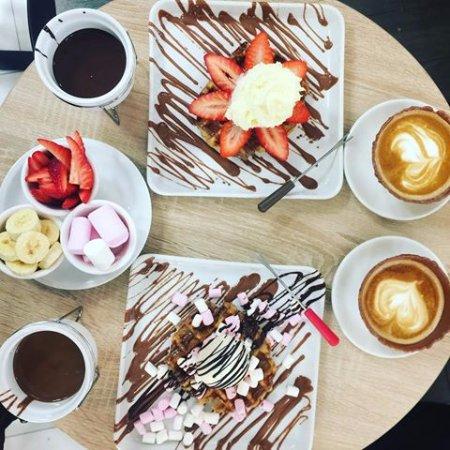 Solna, السويد: the home of chocolate fika and dessert bar, chocolate fondue, coffee in chocolate coated cones