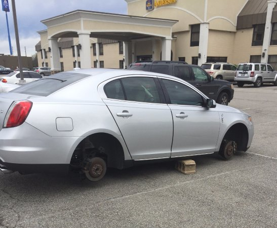 Anderson, IN: Car had all four tires stolen