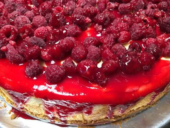 Rhinelander, WI: New York Cheesecake with a Raspberry Drizzle
