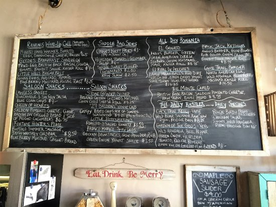 Cerrillos, NM: Chalkboard Menu: Changes Daily, Weekly