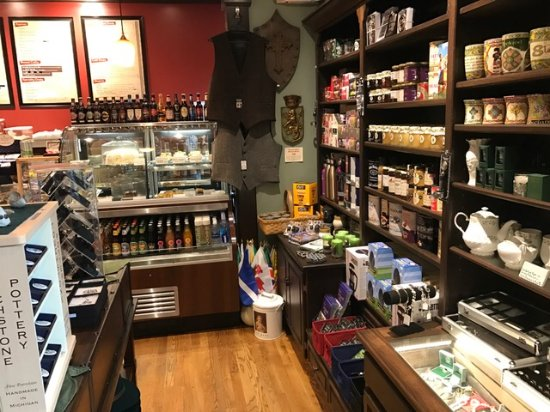 Tullahoma, TN: Pastries case and Scottish Goods on shelves for sale.