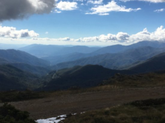 Looking back to Mount Beauty from the top of Falls Creek snow fields