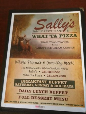 White Cloud, MI: Menu shows restaurant, pizza parlor, ice cream spot & tavern 4/20/17