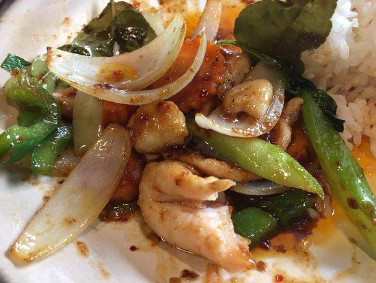 Richmond, Australia: Stir fry chicken and Thai basil with wild Quinoa