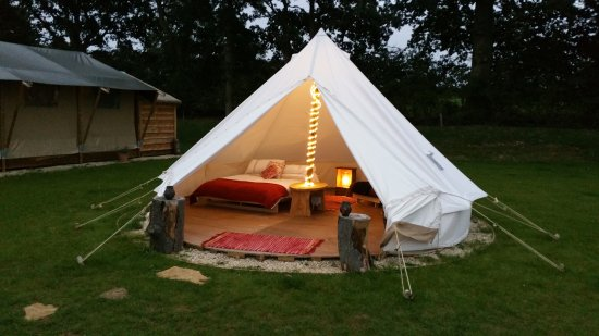 C&fires and Stars Bell Tent interior at dusk & Bell Tent interior at dusk - Picture of Campfires and Stars ...
