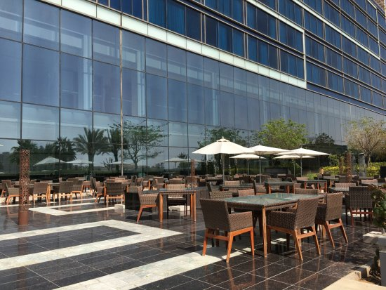 Outside seating for meals at Fairmont Bab Al Bahr Abu Dhabi