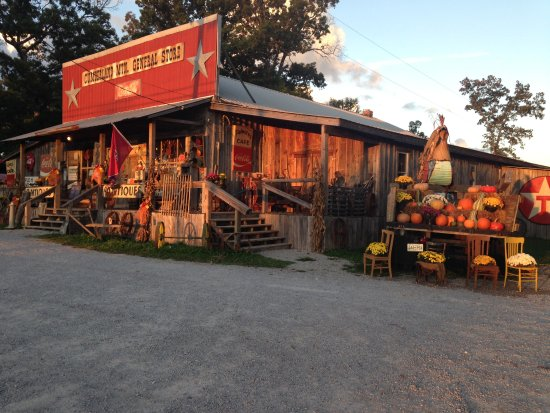 Clarkrange, TN: Fall sunset Cumberland Mountain General Store. The Rock-a-Billy Diner is located inside the stor