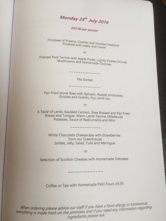 Blackaddie Country House Hotel: Menu