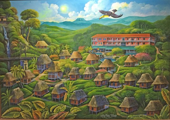 Cahal Pech Village Resort: Fantasy view of grounds. Not really jungle. No waterfall.