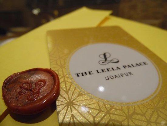 The Leela Palace Udaipur: Lettre d'accueil et carte