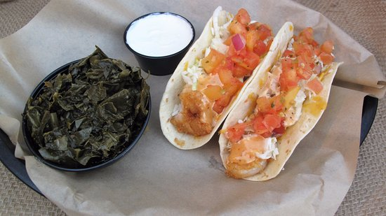 Farmville, VA: Better than BANG BANG Tacos with Horseradish-lime Sour cream and southern Collard Greens