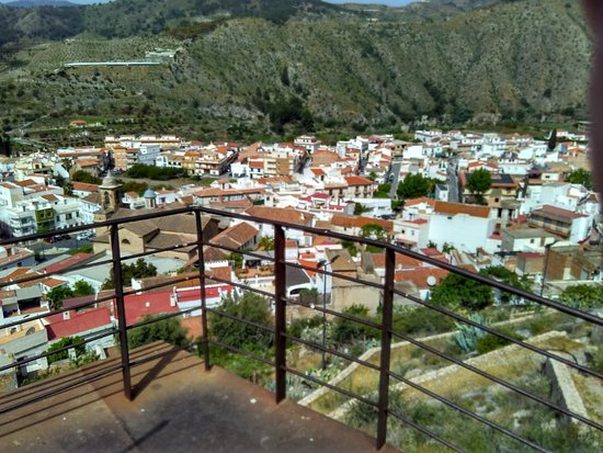 Velez de Benaudalla, Spanyol: View of the Town from the walk way at the Castle base