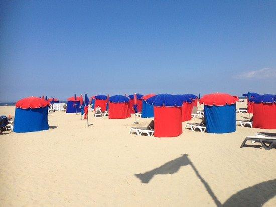 plage de Deauville, parasols à louer   Picture of Deauville Beach