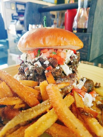 Front Royal, VA: Local braised lamb, feta, and Pico de Gallo on a half pound burger!