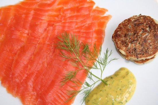 Greenwich, CT: Wild Alaskan King Salmon Gravlax with Wild Rice Blinis & Mustard Sauce