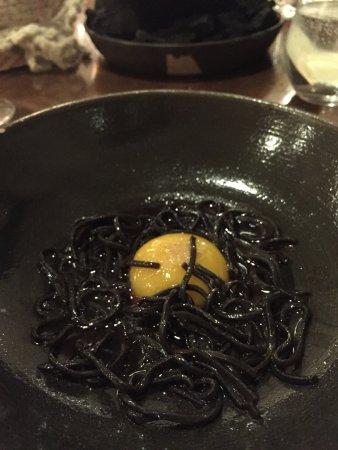 Restaurant Taller: Black lentils with egg yolk at Taller