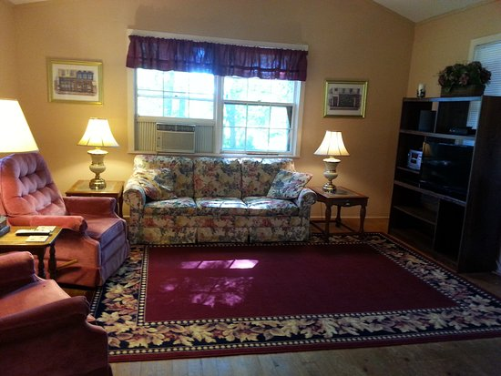 King Cabin Living Room With Sleeper Sofa Queen Size