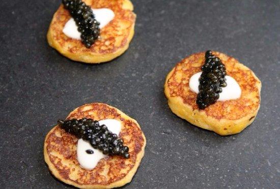 Greenwich, CT: Corn Blini, Creme Fraiche, Russian Osetra Caviar