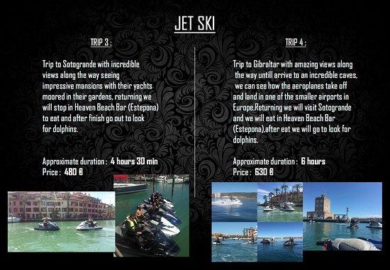 Puerto Banus, สเปน: PRICE LIST OF JET SKI TRIPS FROM PUERTO DEPORTIVO OF MARBELLA