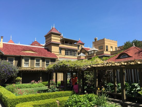 """Winchester Mystery House: Beautiful grounds surrounding the house with an """"interesting"""" interior architecture"""