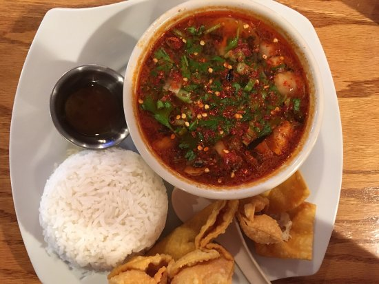O'Fallon, IL: Lunch special of Tom Yum Goong or shrimp, Crab Rangoon, white rice and sweet and sour sauce.